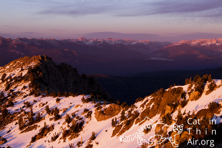 Sierra mountain ranges at sunset, seen from Kaiser Peak, Kaiser Wilderness Area, California
