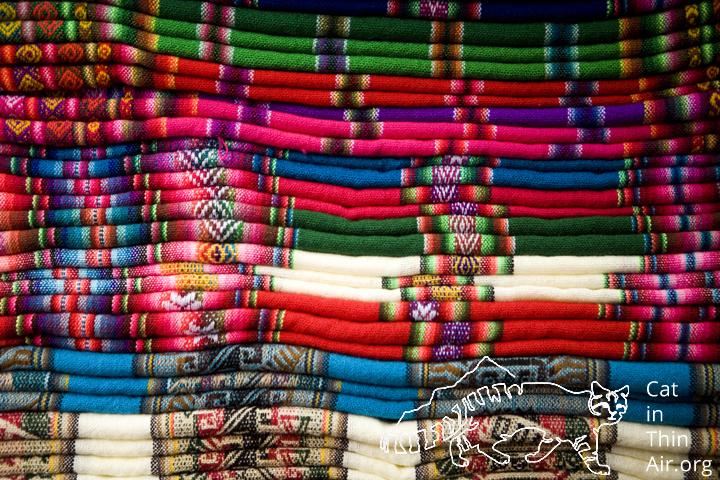 Colorful alpaca fabrics, La Paz, Bolivia