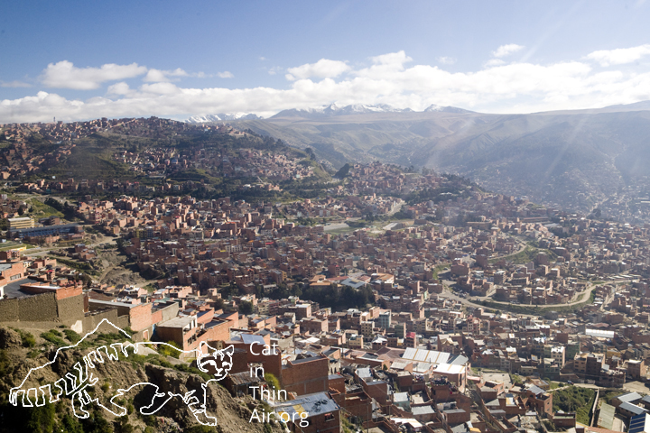 View over the city from a gondola, La Paz, Bolivia