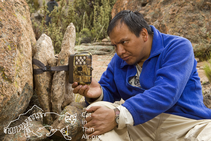 Juan Carlos Huaranca Ariste checking camera trap for Andean Cats. Ciudad de Pedra, western Bolivia