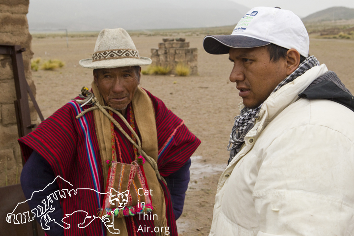 Its common for Juan Carlos to stop and to speak to locals about the Andean Cat!