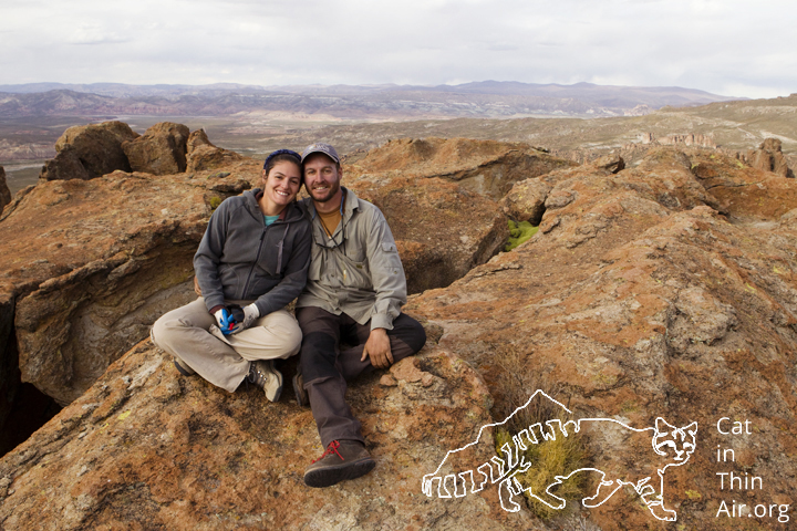 Cintia Tellaeche and Juan Reppucci in the altiplano of the high Andes, northwestern Argentina
