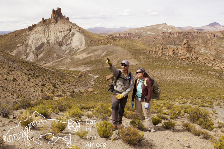 Cintia Tellaeche and Juan Reppucci determining the root up a mountain in the altiplano of the high Andes, northwestern Argentina